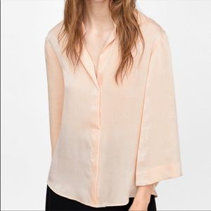 NWT Zara Flowly Blush 3/4 Sleeve Satin Blouse